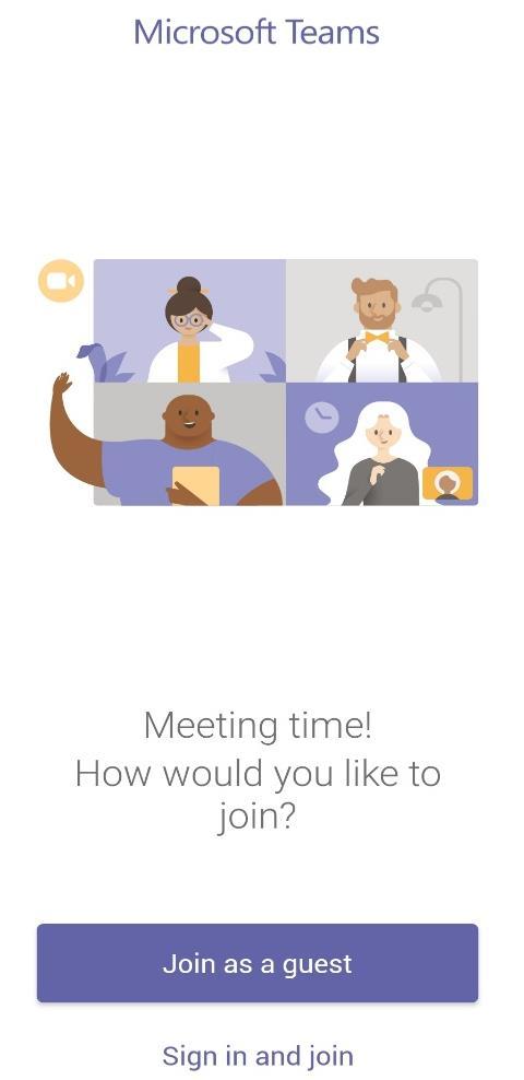 Joining a meeting screenshot