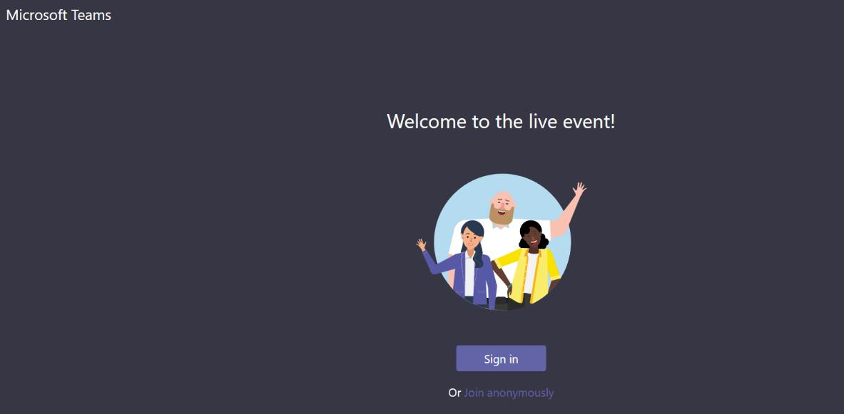 Welcome to live event screenshot